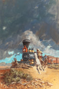 Mainstream Illustration, GERALD POWELL (American, 20th Century). Last Stage to Benbow,paperback cover, 1976. Acrylic and gouache on board. 30 x ...(Total: 2 Items)