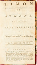 Books:Literature Pre-1900, William Shakespeare. Timon of Athens. London: J. Rivington,et al., [n.d., ca. 1800]. Twelvemo. Slightly later half ...