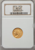 Indian Quarter Eagles: , 1910 $2 1/2 MS63 NGC. NGC Census: (1381/1002). PCGS Population(690/499). Mintage: 492,000. Numismedia Wsl. Price for probl...