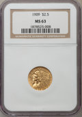 Indian Quarter Eagles: , 1909 $2 1/2 MS63 NGC. NGC Census: (1040/1054). PCGS Population(843/831). Mintage: 441,700. Numismedia Wsl. Price for probl...