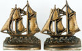 "Books:Furniture & Accessories, [Bookends]. Matching Pair of Sailing Ships. Ca. 1940. Paintedfinish over cast iron. Each measures 5.5"" tall x 4.5"" wide x 2...(Total: 2 Items)"