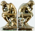 Books:Furniture & Accessories, [Bookends]. Matching Pair of Rodin's The Thinker. Stamped1928, though probably later. Wear to finish. Each meas... (Total: 2Items)
