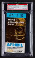 Baseball Collectibles:Tickets, 1967 Super Bowl I Packers vs. Chiefs Ticket Stub, PSA Authentic -Rare Blue Variation. ...