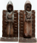 Books:Furniture & Accessories, [Bookends]. Matching Pair of Wooden Hand-Carved Monks. Ca. 1950.Some mild rubbing and one with a few light scratches. Each ...(Total: 2 Items)