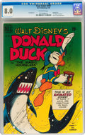 Golden Age (1938-1955):Cartoon Character, Four Color #291 Donald Duck (Dell, 1950) CGC VF 8.0 Off-whitepages....