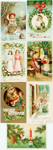 Miscellaneous:Postcards, [Post Cards]. Group of Seven Post Cards With a Christmas Theme.Various publishers, Ca. 1909-1910. Most measuring approxim...