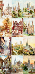 """Miscellaneous:Postcards, [Post Cards]. Group of Twelve """"Oilette"""" Post Cards DepictingBritish Landmarks and Scenery. Raphael Tuck & Sons, Ca.1904-19..."""