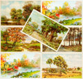 "Miscellaneous:Postcards, [Post Cards]. Group of Seven ""Rally Day"" Post Cards FeaturingWooded landscapes. Various publishers, Ca. 1912-1916. Most mea..."