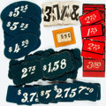 Miscellaneous:Ephemera, Group Lot of Card Stock Pricing labels. New York: Card DisplayInc., [n.d., ca. 1900]. Approximately 100 pricing display car...