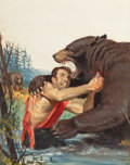 Pulp, Pulp-like, Digests, and Paperback Art, WILL HULSEY (American, 20th Century). A Kodiak Bear Ripped MyFlesh, True Men Stories magazine cover, June 1957. Oil on ...