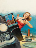 Pulp, Pulp-like, Digests, and Paperback Art, WILL HULSEY (American, 20th Century). Make Me a Widow, GuiltyDetective Story magazine cover, May 14, 1956. Oil on board...