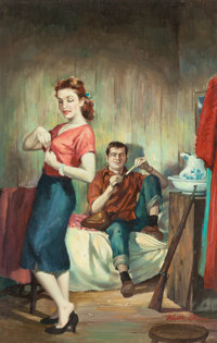 VICTOR OLSON (American, 1924-2007) Bad 'Un, paperback cover, 1954 Oil on board 26 x 16.5 in. (sig