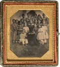 Photography:Daguerreotypes, Early Photography: Charming Dag of School Marm and Students....