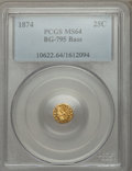 California Fractional Gold: , 1874 25C Indian Octagonal 25 Cents, BG-795, R.3, MS64 PCGS. PCGSPopulation (69/23). NGC Census: (5/4). ...