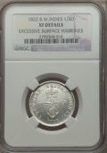 British West Indies, British West Indies: George IV 1/4 Dollar 1822 XF Details(Excessive Surface Hairlines) NGC,...