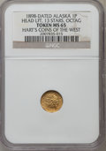 "Alaska Tokens, ""1898"" Head Left, 13 Stars, Octagonal, Alaska Gold One Pinch, MS65 NGC. HK-843. Hart's Coins of the West...."