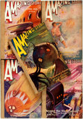 Books:Pulps, [Pulps]. Five Issues of Amazing Stories. [1936]. Sometoning, creasing and chipping. Spines reinforced with ... (Total:05 Items)