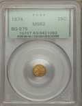 California Fractional Gold: , 1874 25C Indian Round 25 Cents, BG-876, Low R.4, MS63 PCGS. PCGSPopulation (25/52). NGC Census: (4/3). ...