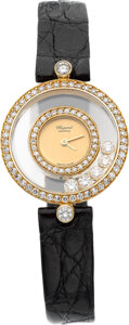 "Estate Jewelry:Watches, Chopard Lady's Diamond, Gold ""Happy Diamonds Icons"" Watch. ..."