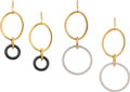 Estate Jewelry:Earrings, Faraone Mennella Diamond, Onyx, Gold Earrings. ...