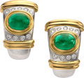 Estate Jewelry:Earrings, Emerald, Diamond, Gold, Platinum Earrings. ...