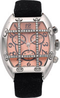"Estate Jewelry:Watches, Van Der Bauwede Lady's Diamond, Silver ""Magnum"" Chronograph Watch...."