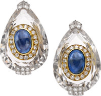 David Webb Sapphire, Diamond, Rock Crystal Quartz, Platinum, Gold Earrings