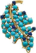 Estate Jewelry:Brooches - Pins, Tibor Diamond, Turquoise, Lapis Lazuli, Gold Brooch. ...