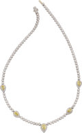 Estate Jewelry:Necklaces, Michael Beaudry Diamond, Platinum, Gold Necklace. ...