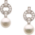Estate Jewelry:Earrings, Cartier Cultured Pearl, Diamond, White Gold Earrings. ...