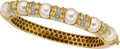 Estate Jewelry:Bracelets, Cultured Pearl, Diamond, Gold Bracelet. ...