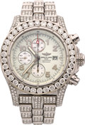 Estate Jewelry:Watches, Breitling Diamond, Stainless Steel Chronograph Watch. ...