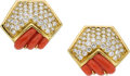 Estate Jewelry:Earrings, Hammerman Bros. Coral, Diamond, Gold Earrings. ...