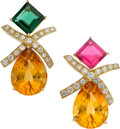 Estate Jewelry:Earrings, Paloma Picasso for Tiffany & Co. Diamond, Multi-Stone, Gold Earrings. ...