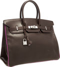 "Luxury Accessories:Bags, Hermes 35cm Chocolate & Cyclamen Calf Box Leather Birkin Bagwith Palladium Hardware. Good to Very Good Condition.14""..."