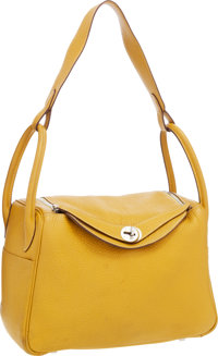 Hermes 31cm Curry Clemence Leather Lindy Bag with Palladium Hardware Good to Very Good Condition