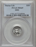 Modern Bullion Coins, 2001 P$10 Tenth-Ounce Platinum Statue of Liberty MS69 PCGS. PCGS Population (1563/15). NGC Census: (1750/1080). Mintage: 52...