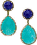 Estate Jewelry:Earrings, Getana & Co. Amazonite, Lapis Lazuli, Diamond, Gold Earrings....