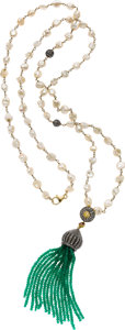 Estate Jewelry:Necklaces, Diamond, Emerald, Freshwater Cultured Pearl, Silver-Topped GoldNecklace. ...