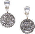 Estate Jewelry:Earrings, Gioia Moonstone, Diamond, White Gold Earrings. ...