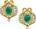 Estate Jewelry:Earrings, Masriera y Carreras Emerald, Diamond, Enamel, Gold Earrings. ...