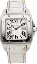 "Estate Jewelry:Watches, Cartier Lady's Stainless Steel ""Santos 100"" Watch. ..."