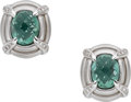 Estate Jewelry:Earrings, Prasiolite, Diamond, White Gold Earrings. ...