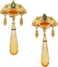 Estate Jewelry:Earrings, Paula Crevoshay Multi-Stone, Gold Earrings. ...