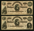 Confederate Notes:1864 Issues, T65 $100 1864 PF-2 Cr. 493, Two Examples.. ... (Total: 2 notes)