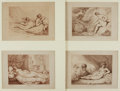 Books:Prints & Leaves, Thomas Rowlandson (English caricaturist, 1756-1827). Group of FourOriginal Sepia Etchings Entitled, The Fair Bather ...