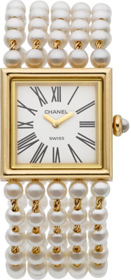"Chanel Lady's Cultured Pearl, Gold ""Mademoiselle"" Watch"