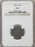 Early Half Dimes: , 1805 H10C AG3 NGC. PCGS Population (0/61). Mintage: 15,600.Numismedia Wsl. Price for problem free NGC/P...