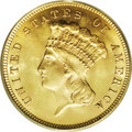 Three Dollar Gold Pieces: , 1879 $3 MS64 PCGS. In 1878, the Treasury made a final attempt tocirculate the three dollar denomination. 82,304 pieces wer...