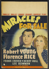"""Miracles for Sale (MGM, 1939). Window Card (14"""" X 20""""). Mystery. Starring Robert Young, Florence Rice, Frank C..."""